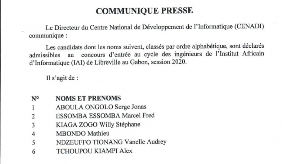 Admissibilités concours IAI Gabon, session 2020